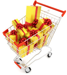 Shopping cart with golden gifts isolated on white
