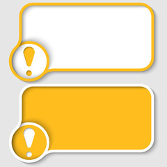 two yellow text frame and exclamation mark