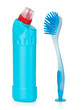 Plastic bottle of cleaning product and brush