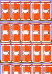 Botes de tomate en estanterías