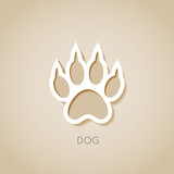 dog paw banner - vector illustration