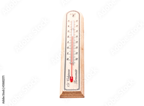 Wooden thermometer on white background