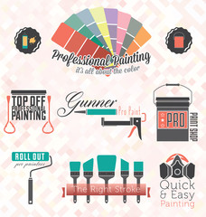 Vector Set: Commercial Residential Painting Icons and Symbols
