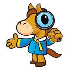 Horse mascot examine a with a magnifying glass. New Year Charact
