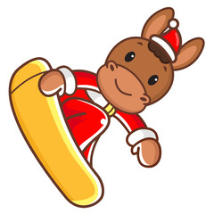 The horse mascot on ride a snowboard. Christmas Character Design