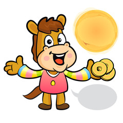 The Horse mascot holding a brass coin. New Year Character Design
