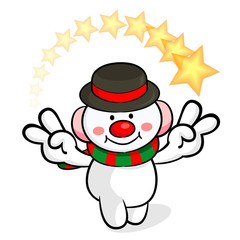 Snowman Mascot victory gesture. Christmas Character Design Serie