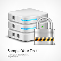 Database security concept, isolated on white, vector