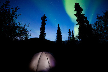 Taiga tent illuminated under northern lights flare