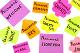 Password's reminders isolated on white