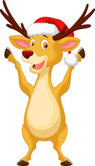 Cute deer cartoon waving