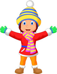 Cartoon illustration of a girl in Winter clothes waving hand
