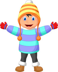 Cartoon illustration of a boy in Winter clothes waving hand
