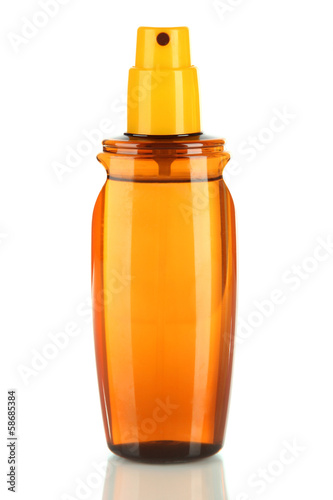 Bottle with suntan cream isolated on white