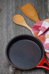 empty frying pan, wooden spoon and spatula, concept