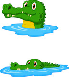 Cute crocodile cartoon swimming