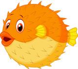 Fototapety Cute puffer fish cartoon