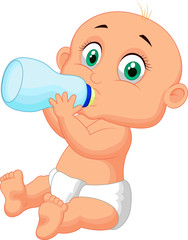 Cute baby drinking milk from bottle