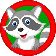 Cute raccoon cartoon posing