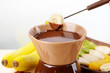 Chocolate fondue with fruits,