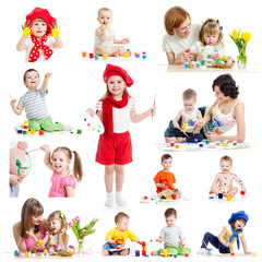 Group of kids or children paint with brush or fingers