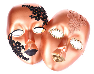 Masks on blue fabric background