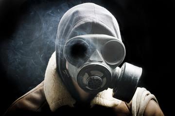 portrait man in gas mask