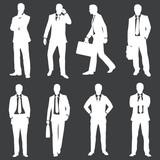 vector set of white silhouettes of business people