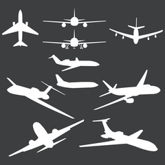vector set of white plane silhouettes