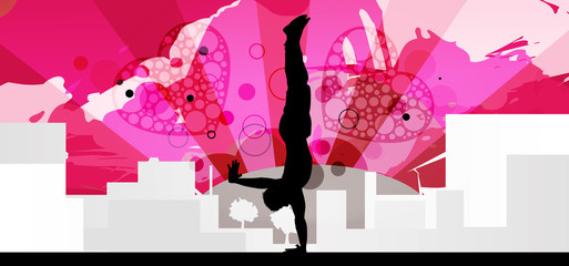 Handstand silhouette - pink