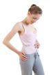 Weight loss girl measures her waist