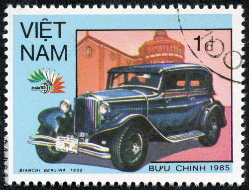 stamp printed in Vietnam, shows 1932 Bianchi Berlina