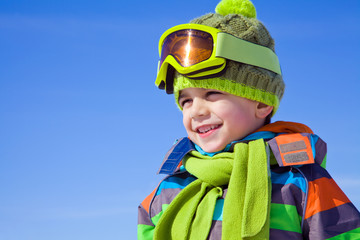 little boy in winter resort