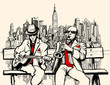 two jazz men playing in New York - 58689971