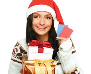 A young woman with a Christmas present and cards