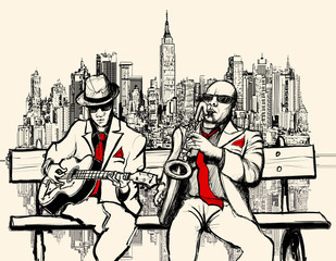 two jazz men playing in New York © Isaxar
