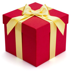 Red gift box with yellow ribbon and bow.