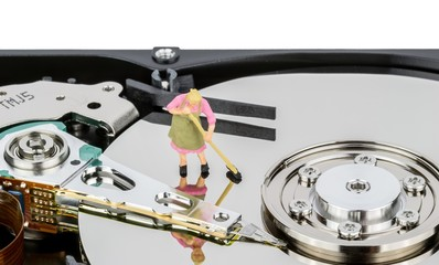 Computer hard drive registry clean up and maintenance concept