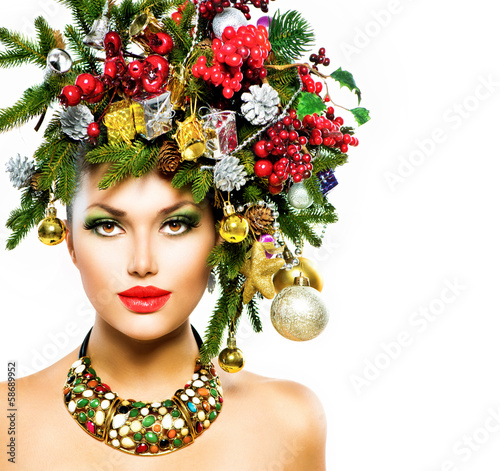 Christmas Woman. Christmas Holiday Hairstyle and Makeup