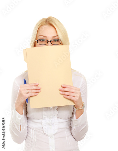 Young business woman with folder,isolated on white background.