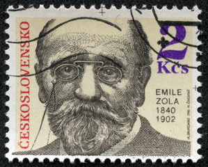 stamp printed in Czechoslovakia, shows Emile Zola
