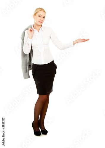 Portrait of a young beautiful businesswoman pointing something