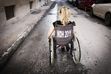 Lonely child in wheelchair
