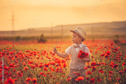 A boy in poppies