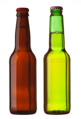 two bottles of beer with white background