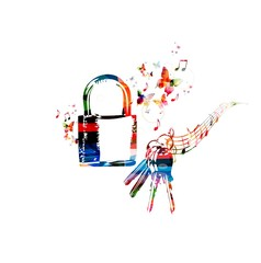 Colorful vector padlock background with butterflies.