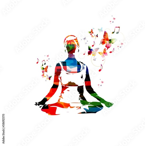 Colorful vector woman in the yoga pose with butterflies.