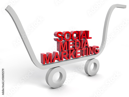 Social Media Marketing over white background