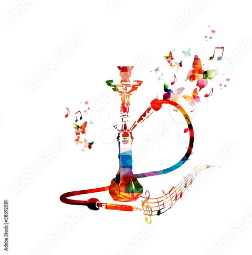 Colorful vector hookah background with butterflies.