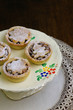 Traditional Mince Pies on painted ceramic stand